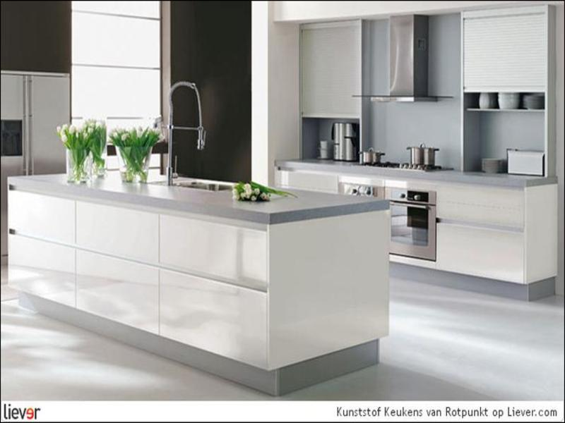 Witte Keuken Grijs Blad